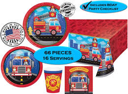 100 Fire Truck Plates Amazoncom FLAMING FIRETRUCK Birthday Party Napkins Cups