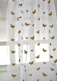 Gold And White Sheer Curtains by Amazon Com Butterfly Sheer Drapes 96