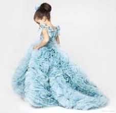 aliexpress com buy cute little dress blue ruffles puffy