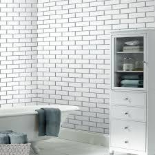 Metallic Tile Effect Wallpaper by Subway Tile U2013 White Wallsorts