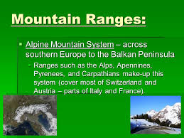mountain ranges of europe the physical geography of europe and russia ppt