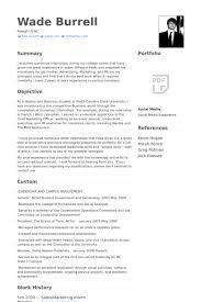 Marketing Intern Resume Samples VisualCV Database Format Printable