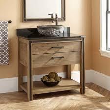 Peach Wall Design With Small Rustic Bathroom Vanity Using Parquet Flooring Ideas Black Countertop