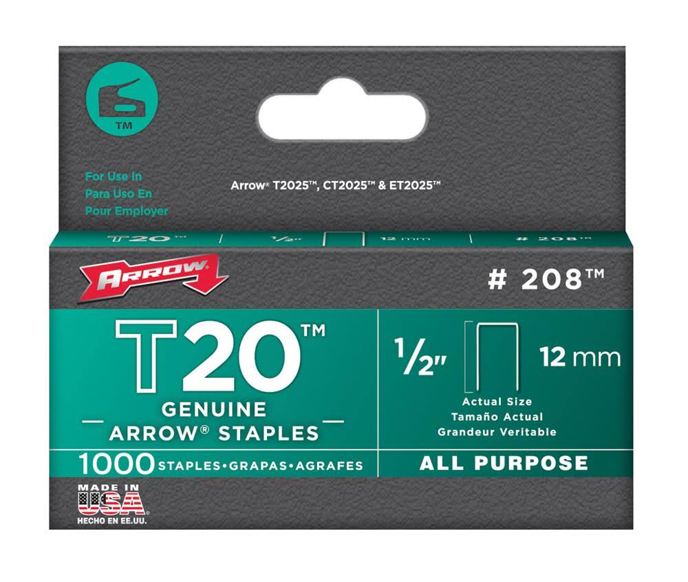 Arrow Tacker Staples - 12mm, 1/2in, Box 1000