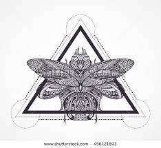Black And White Stylized Scarab For Coloring Book Page Doodle Ethnic Bug Geometrical Pattern