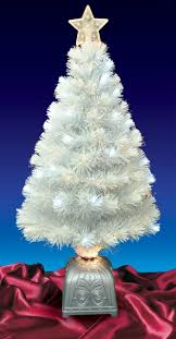 3 Pre Lit LED Color Changing White Fiber Optic Artificial Christmas Tree