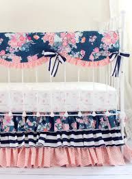 navy coral crib bedding set navy floral coral bumperless set