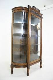 Tiger Oak Dresser Beveled Mirror by Antique American Tiger Oak Bow Front China Display Curio Cabinet