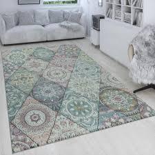 retro teppich bunt wohnzimmer rauten muster boho stil blumen design 3 d kurzflor grösse 80x150 cm