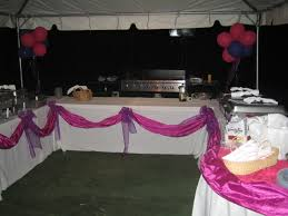 Formal Decorations At Ease Party Catering Buffet Table With White Tablecloth And Pink Nicole Miller