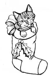 Coloring Pages Of Dogs And Cats Christmas Cat Page