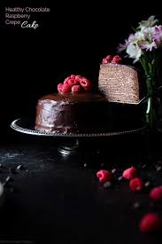 Chocolate Vegan Crepe Cake with Raspberries