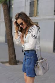 Bohemian Style Fashion Silvia Garcia Is Wearing A Blouse And Denim Skirt From