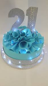 Blue and Bling 21st Birthday Cake – Chocolate Earth Cakes