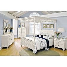 Value City Furniture Upholstered Headboards by Plantation Cove 5 Piece King Canopy Bedroom Set White Value