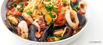 Italian Seafood Pasta With Mussels Calamari