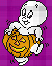 Halloween Hama Bead Patterns by Casper The Friendly Ghost In A Jack O U0027lantern Perler Bead Pattern