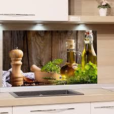 küchenrückwand glas küche mediterran spritzschutz herd