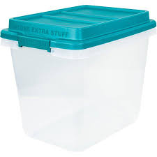Christmas Tree Storage Tote Walmart by Hefty Hi Rise Storage Bins 32 Qt Stackable Bin With Latch Teal
