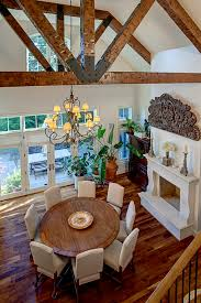 Candle Decoration For Dining Table Room Traditional With French Doors Vaulted Ceiling Exposed Beams
