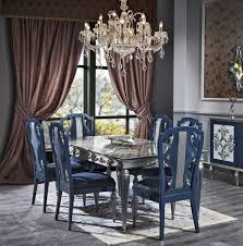 casa padrino luxus barock esszimmer stuhl set blau silber 54 x 53 x h 109 cm edles küchen stühle 6er set barock esszimmer möbel