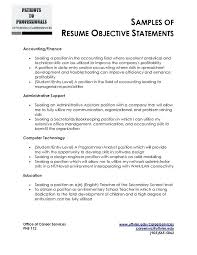 Examples Of Career Goals For Resume Sample Objective Statement