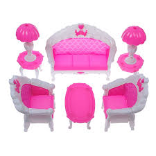 Barbie Fashion Living Room Set by 6 Pcs Dollhouse Furniture Living Room Parlour Sofa Set For Barbie