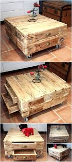 Little Pallets Coffee Table On Wheels With Drawers