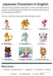Japanese Characters In English Worksheet Free ESL Printable