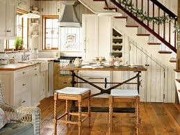 Elegant Rustic Kitchen Makeovers With Wood Bar Stools And L Shaped White Finish Wooden Cabinet