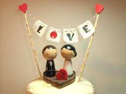 Personalized Kokeshi Wedding Cake Topper With Base Bunting And Heart Love Mr Mrs Rustic