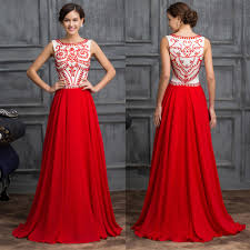 vintage red chiffon evening party dress wedding gowns formal long