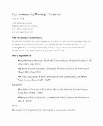 Exsample Resume For Housekeeping With No Experience Beautiful Sample Housekeeper Magnificent