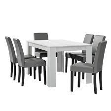 en casa esstisch weiß matt mit 6 stühlen hellgrau kunstleder gepolstert 140x90 essgruppe esszimmer