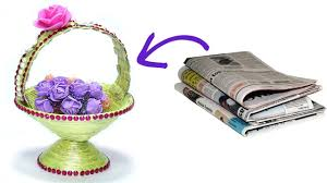 How To Make Diy Newspaper Basket Best Out Of Waste Paper For Material Hand Work