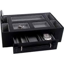 table mountain leather valet with pen watch drawer black