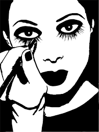 woman putting on makeup clipart