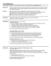 Technical Objective For Resume Computer Technician Example Repair Information Technology Statement