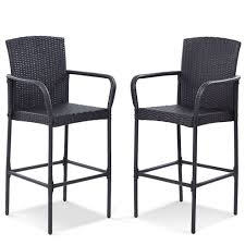 2 PCS Rattan Dining Bar Stools Patio Armrests Chairs W/ Foot Tube ... Set Of Six Leatherbound Rattan Ding Chairs By Mcguire Eight Brge Mogsen For Sale At 1stdibs Vintage Bentwood Of 3 Stol Kamnik Cane And Rattan Fniture Five Shop Provence Oh0589 Outdoor Patio Wicker With Arms Teva Bora 2 Verona Pair Garden Fniture Brown Muestra Natural Teak Wood Woven Chair Zin Home Hospality Kenya Mcombo Poolside Cversation C Capris And Ottomans Sc753 Weathered Gray
