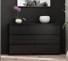 worldtrade 100 groß schwarz 6 schublade schlafzimmer kommode