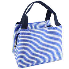 Boutique Stripe Lunch Box Carry Bag For Travel Picnic Blue