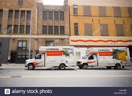 U-Haul Self-moving Trucks Parked In The Chelsea Neighborhood Of New ...