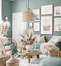 friedlicher strand bilderwand naturbilder wohnzimmer blau eichenrahmen