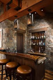 Rustic Bar Lighting Ideas Home With Stone Walls Wood Countertop