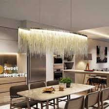 Modern Linear Aluminum Chandelier Light Pendant Lamp Contemporary Lighting Fixture For Hotel Hall Home Dining Room Over Table