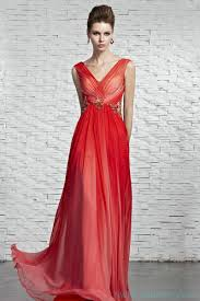 empire waist v neck beaded red evening dress with low back long