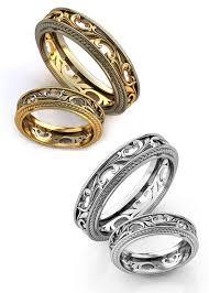 Wedding Ring set Filigree wedding rings Vintage style Wedding