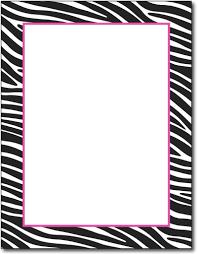 Black White Zebra Border Design With Fuchsia Pink Accent Printed On 24lb Bond