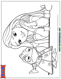 Rapunzel Looking At Pascal In Dress Coloring Page
