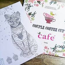 Wonderful Page To Color From CAFE Couple Coffee Cup Adult Coloring Book ENGLISH VERSION By Gony